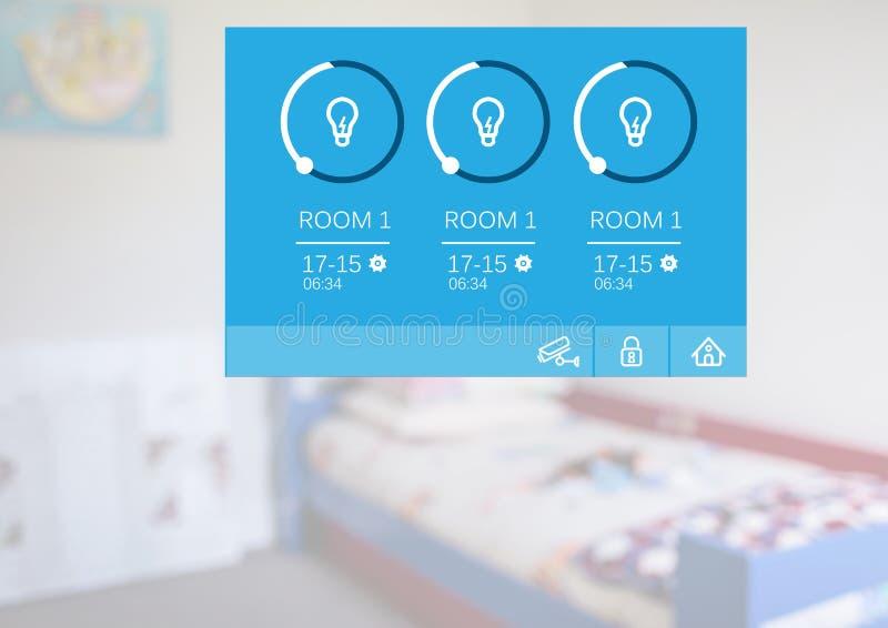 System för hem- automation som tänder App-manöverenheten arkivfoton