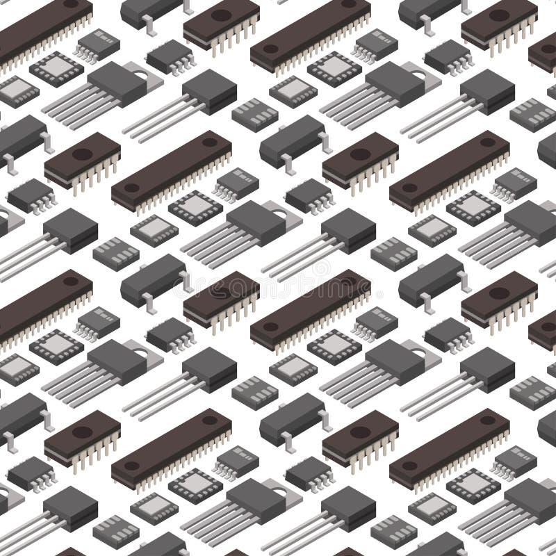 System för information om moderkort för bräde för isometrisk för chip för mikrochipsdatorvektor för teknologi strömkrets för proc stock illustrationer