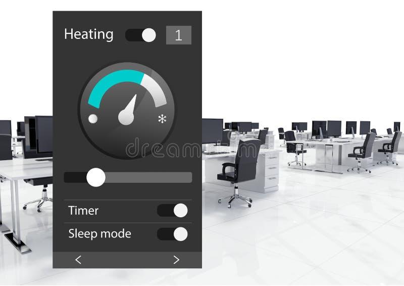 System för kontorsautomation som värmer App-manöverenheten vektor illustrationer