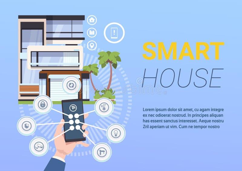 System för kontroll och för administration för teknologiSmart hem med händer som rymmer Smartphone stock illustrationer