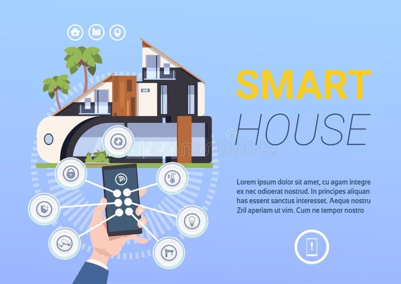 System för kontroll och för administration för teknologiSmart hem med händer som rymmer Smartphone royaltyfri illustrationer