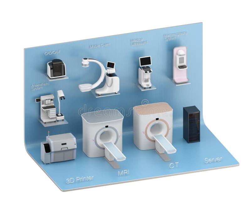 System för medicinsk kopiering på blå utställningetapp royaltyfri illustrationer