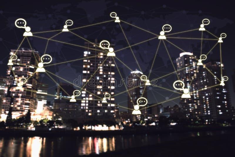 System för nätverkande för symbol för affärsfolk begreppsjordklotteknologi royaltyfria foton
