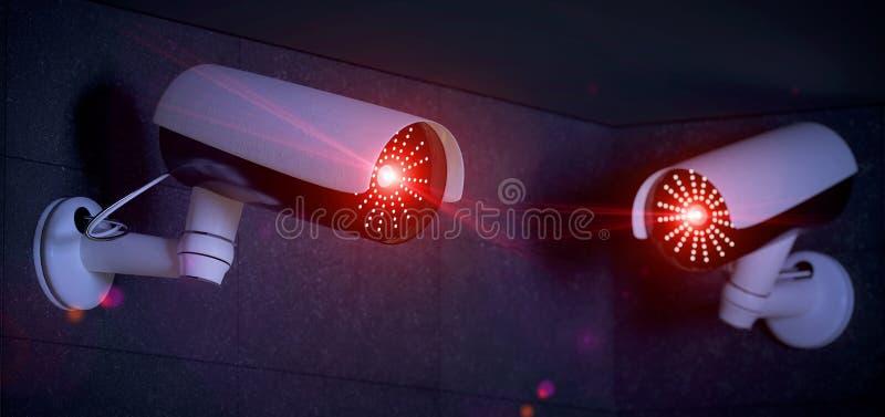 System för säkerhetsCCTV-kamera - tolkning 3d vektor illustrationer