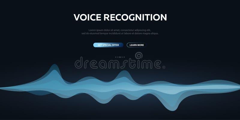 System för stämmaerkännande och personlig assistent StämmaBiometrics Solid våg royaltyfri illustrationer
