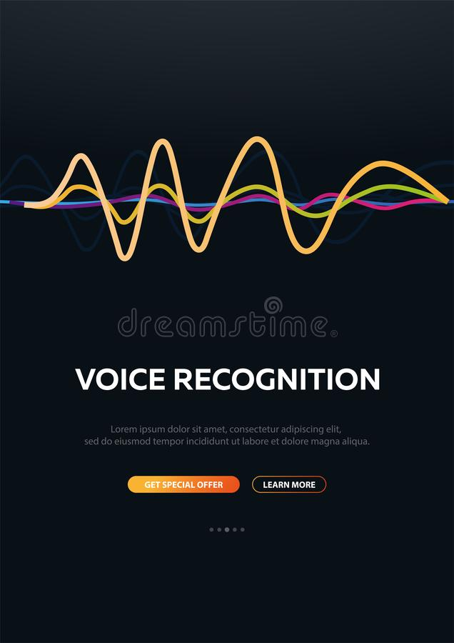 System för stämmaerkännande och personlig assistent StämmaBiometrics Solid våg vektor illustrationer