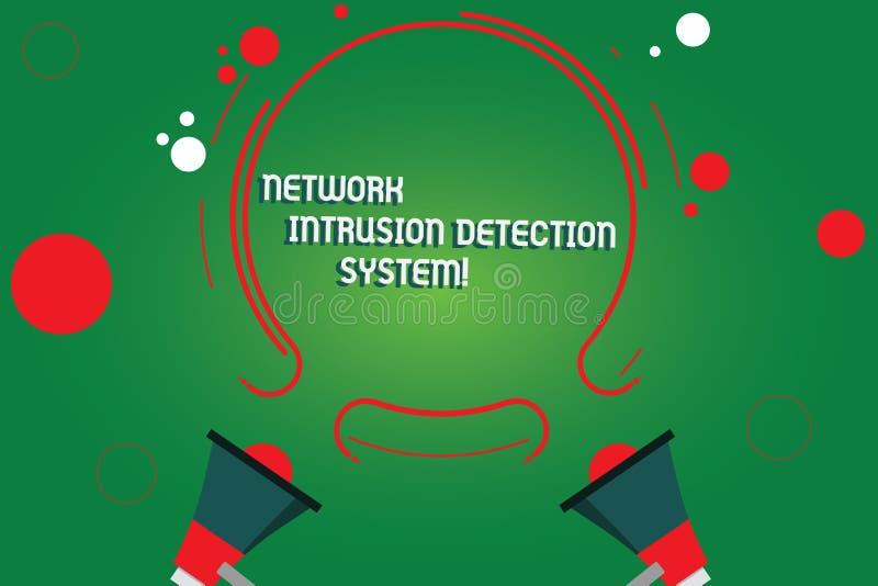 System för upptäckt för inhopp för nätverk för textteckenvisning Begreppsmässig megafon för system för multimedia för fotosäkerhe stock illustrationer