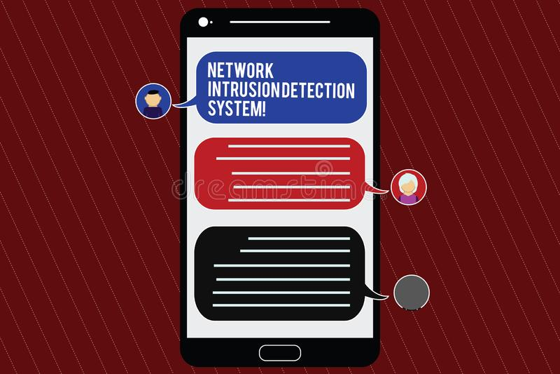 System för upptäckt för inhopp för nätverk för textteckenvisning Begreppsmässig mobil för system för multimedia för fotosäkerhets royaltyfri illustrationer