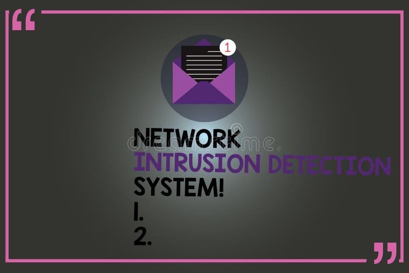 System för upptäckt för inhopp för nätverk för textteckenvisning Begreppsmässigt kuvert för system för multimedia för fotosäkerhe royaltyfri illustrationer