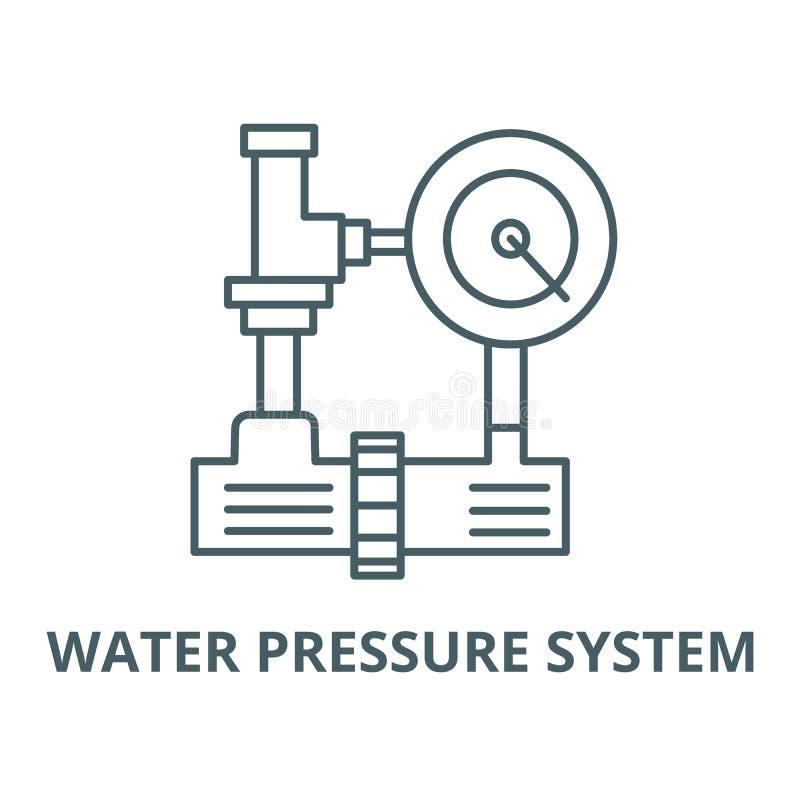 System för vattentryck, linje symbol, linjärt begrepp, översiktstecken, symbol för hvac-branschvektor royaltyfri illustrationer