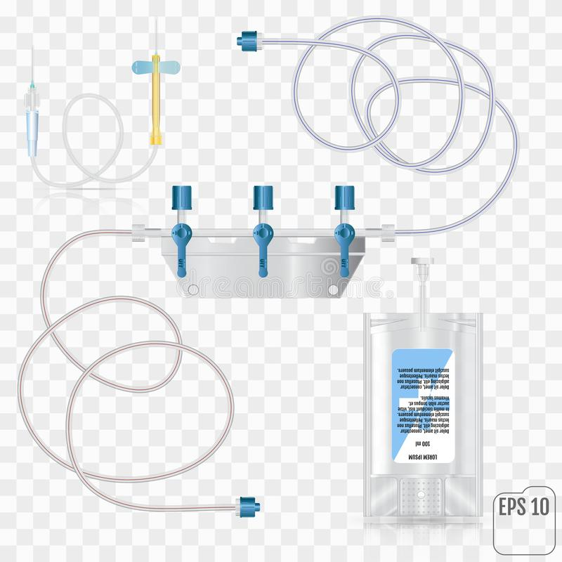 System für intravenöse Infusion mit einem Reduzierer System für Intra lizenzfreie abbildung