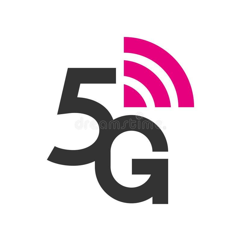 system f?r n?tverk f?r logo 5G tr?dl?sa och internetvektorillustration begrepp f?r baner 5G Vektortecken, symbol 5G teknologi royaltyfri illustrationer