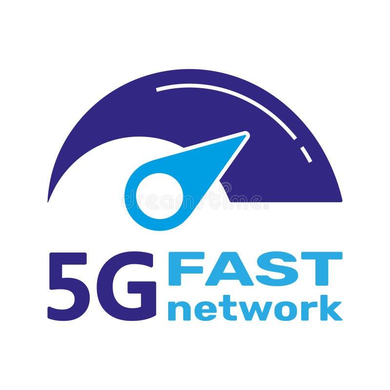 system f?r n?tverk f?r logo 5G tr?dl?sa och internetvektorillustration snabbt banerbegrepp för internet 5G Vektortecken, symbol royaltyfri illustrationer