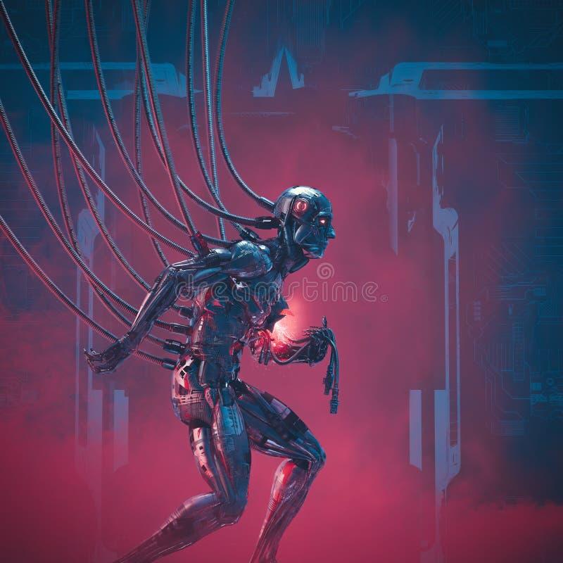System failure imminent. 3D illustration of damaged futuristic metallic science fiction male humanoid cyborg seeking help royalty free illustration