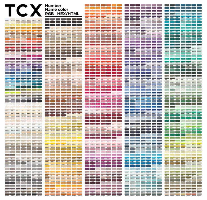 System Farbtabelle Pantone FHI Vektorfarbpalette mit der Zahl, genannt Farbmuster, Diagramm an pantone RGB sich anpassen, HTML un lizenzfreie abbildung