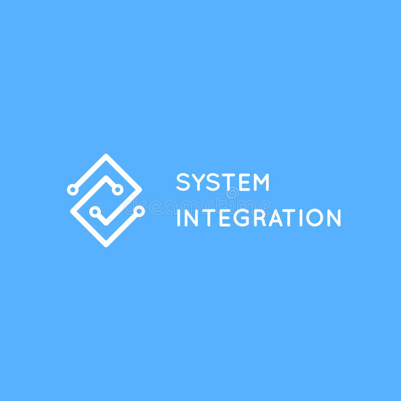 System Integration abstract logo. Electric scheme line art logotype royalty free illustration