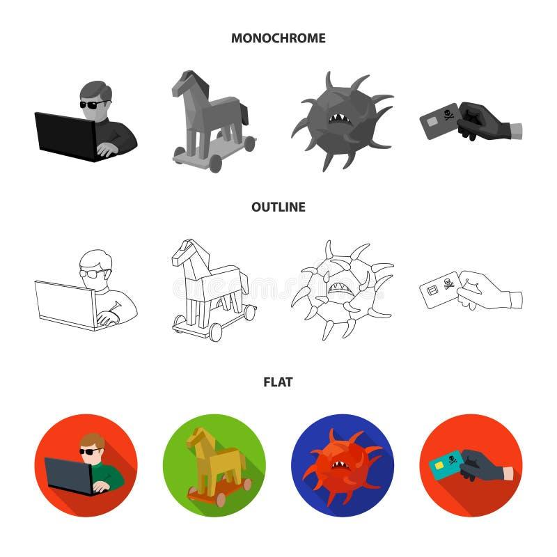 System internet, anslutning, kod En hacker och fastställda samlingssymboler för dataintrång i lägenheten, översikt, monokrom stil stock illustrationer