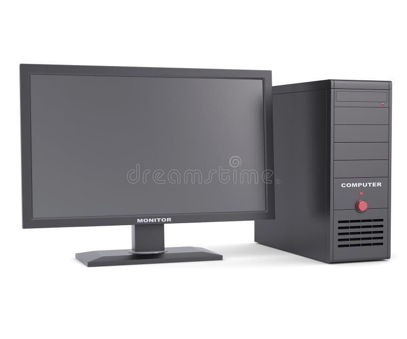 System jednostka z monitorem royalty ilustracja