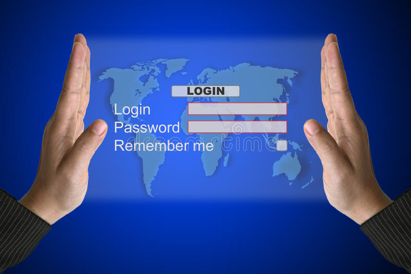 System Login interface. Hand Hold Technology System Login in Virtual Screen Interface royalty free stock images