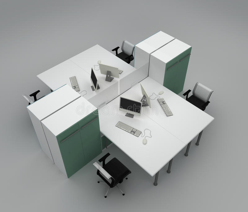 Download System Office Desks With Partitions Stock Illustration - Image: 23700422