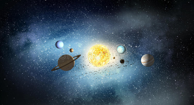 System of planets . Mixed media stock photography