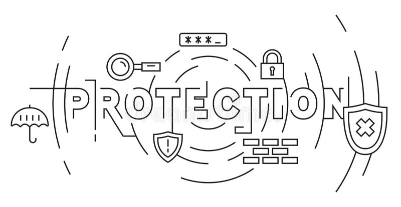 Protection, Security, and Convenience Concept. System Save Flat Line Design in Black and White. Doodle Style Geometric Banner or B vector illustration