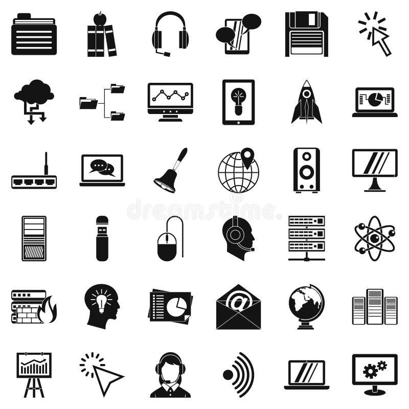 System sieci ikony ustawiać, prosty styl ilustracja wektor