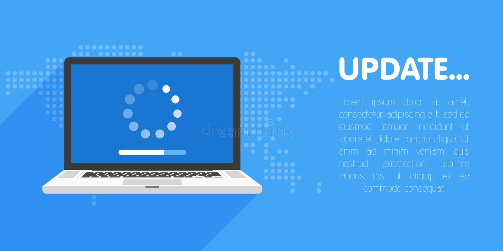System software update and upgrade concept. Loading process in laptop screen. Vector illustration vector illustration