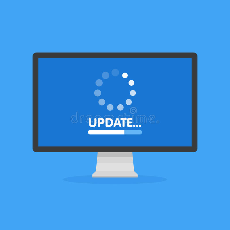 System software update and upgrade concept. Loading process in monitor screen. Vector illustration.  royalty free illustration
