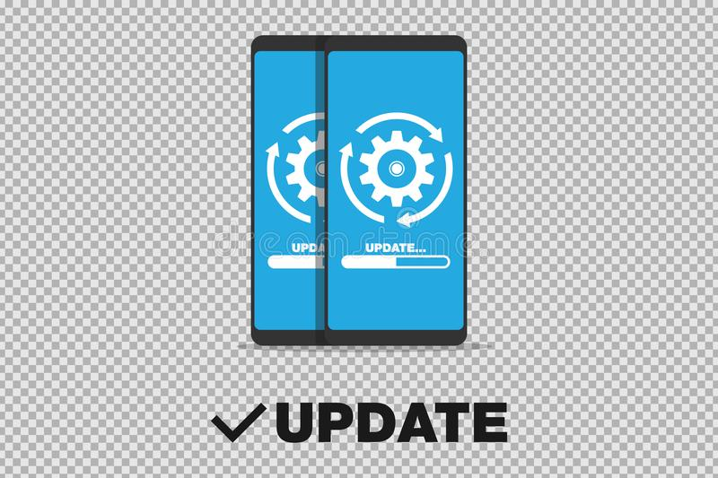 System software update and upgrade concept. Loading process in smart phone screen. Eps 10 stock illustration