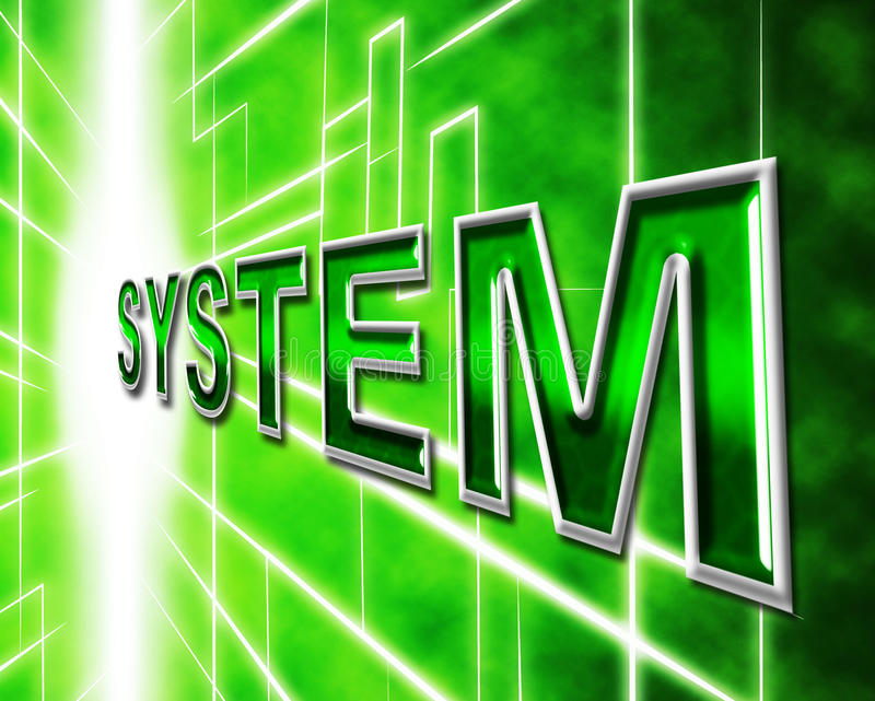 System Technology Represents High-Tech Systems And Digital. System Technology Meaning Organizing Data And Digital royalty free illustration