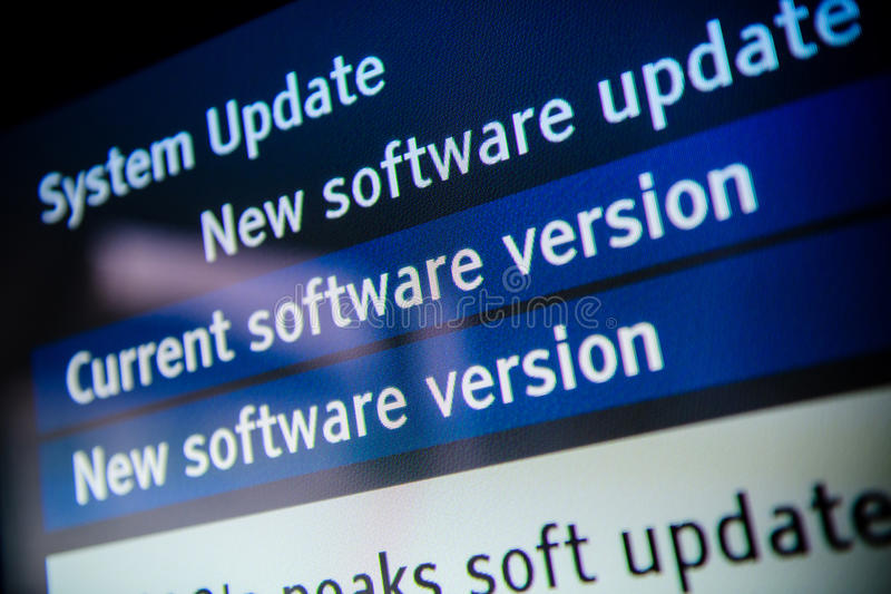 System update software. Available on a modern smart TV set
