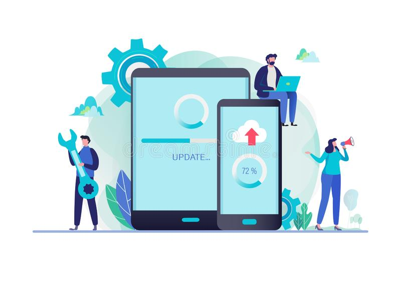 System updates with people updating operation in computing and installation programs. Mobile application. Flat vector illustration stock illustration