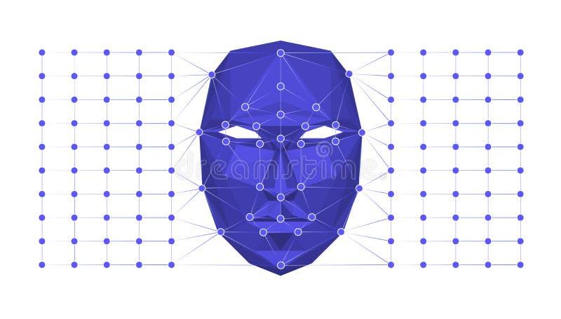 Systembegrepp för Biometric ID eller för ansikts- erkännande också vektor för coreldrawillustration stock illustrationer