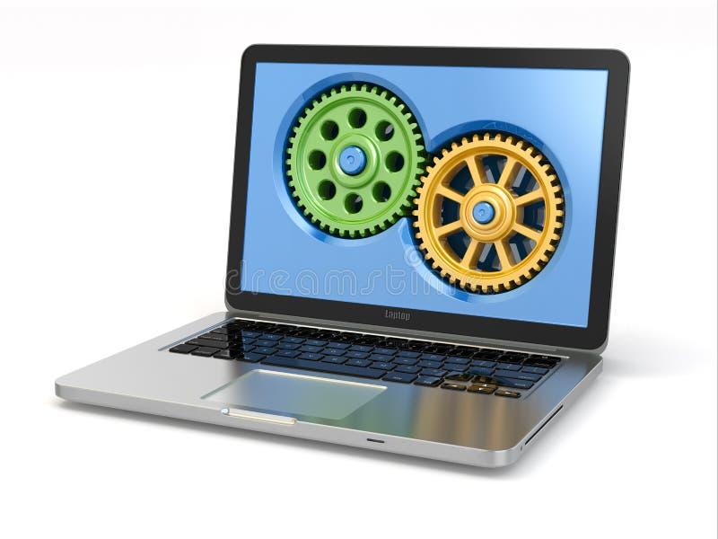 Systemeigenschaftenkonzept. Laptop und Gänge. vektor abbildung