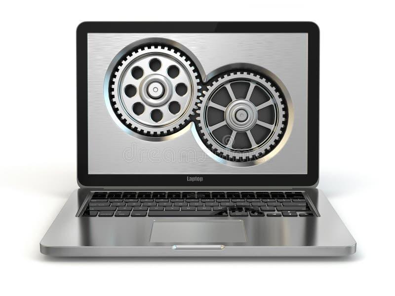 Systemeigenschaftenkonzept. Laptop und Gänge. lizenzfreie abbildung