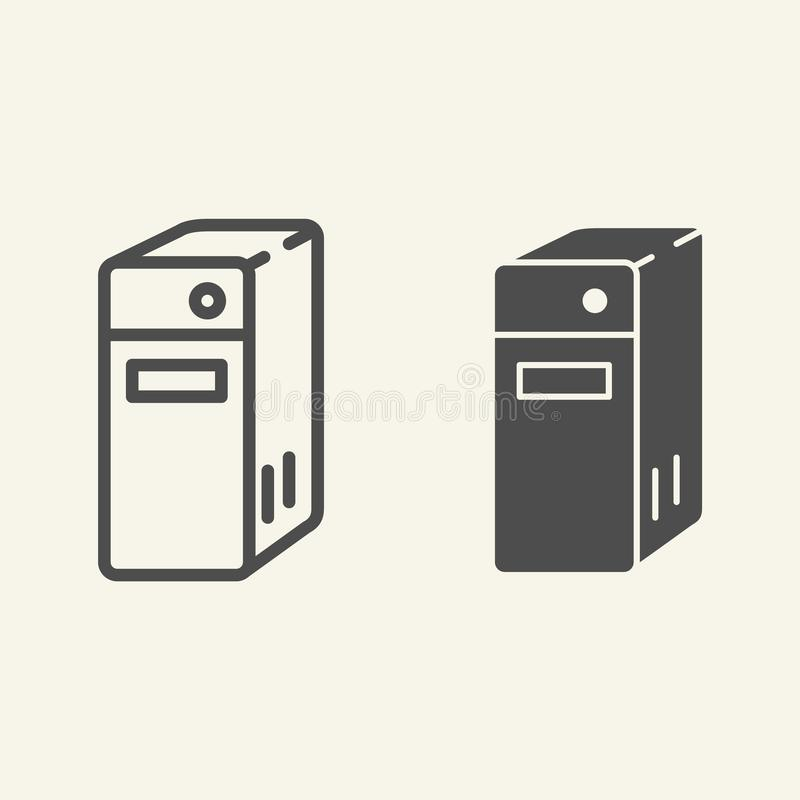 Systemenhet av en datorlinje och en skårasymbol Illustration för PCkvartervektor som isoleras på vit Serveröversiktsstil stock illustrationer