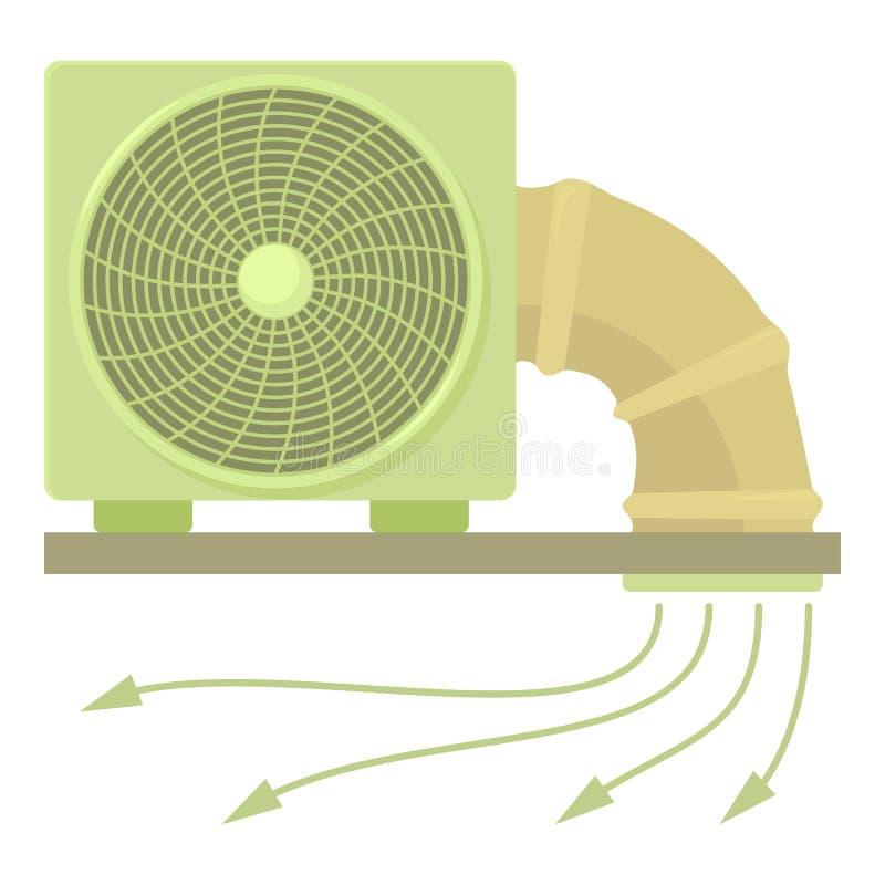 Systemfan- och rörsymbol, tecknad filmstil stock illustrationer