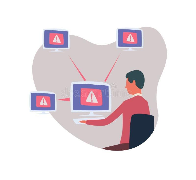 Systemfehler im Netz, Computerviruskonzept Mann, der an dem Computer sitzt und arbeitet Abstrakter Vektor stock abbildung