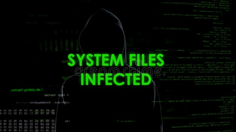Systems files infected message, silhouette hacker spreading virus in internet royalty free stock photos