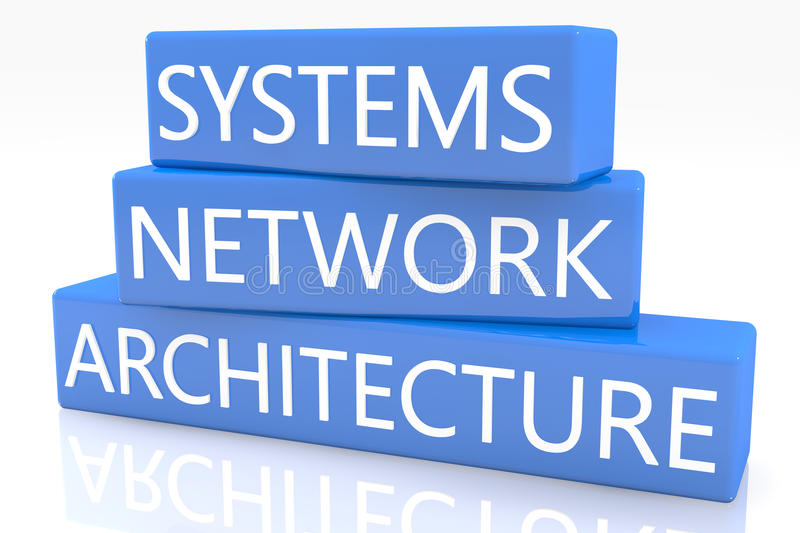 Systems Network Architecture. 3d render blue box with text Systems Network Architecture on it on white background with reflection stock images