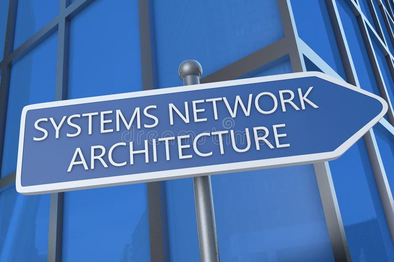 Systems Network Architecture. Illustration with street sign in front of office building stock photo