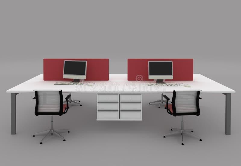 Systemsbüroschreibtische mit Partitionen lizenzfreie abbildung
