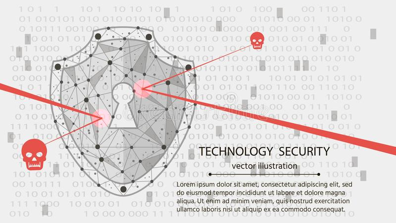 Systemskydd Cybersäkerhetsbegrepp: Sköld på bakgrund för digitala data också vektor för coreldrawillustration vektor illustrationer
