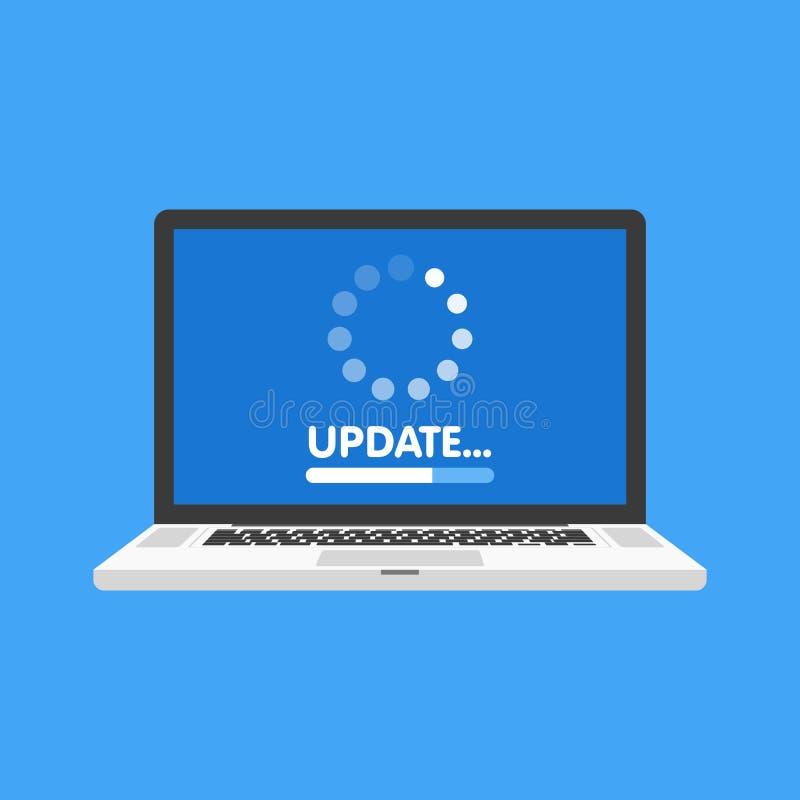 Systemsoftware-aktualisierung und Verbesserungskonzept Ladevorgang auf Laptopschirm Auch im corel abgehobenen Betrag vektor abbildung