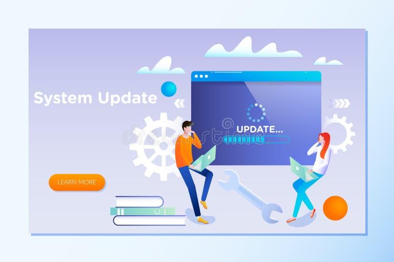 Systemuppdatering Folket uppdaterar operationsystemet kan använda för och att landa sidan, mallen, stock illustrationer