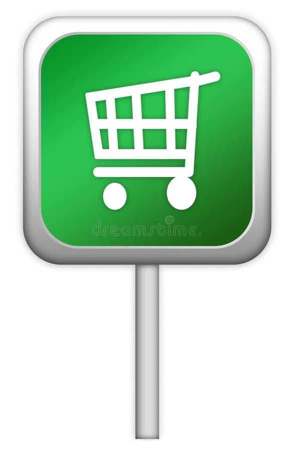 Systemzeichen mit Einkaufswagen lizenzfreie abbildung