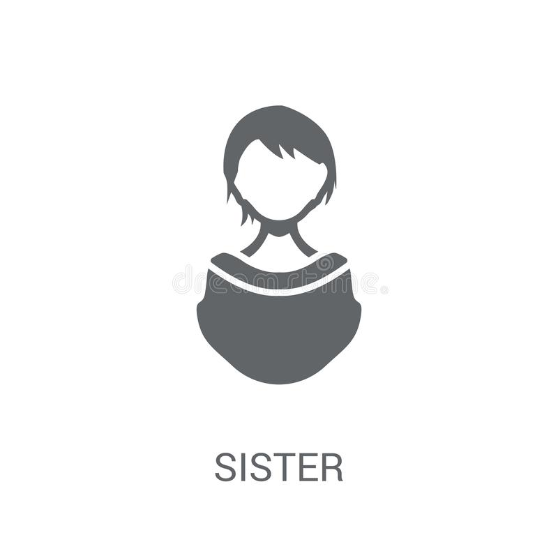 systersymbol Moderiktigt systerlogobegrepp på vit bakgrund från stock illustrationer