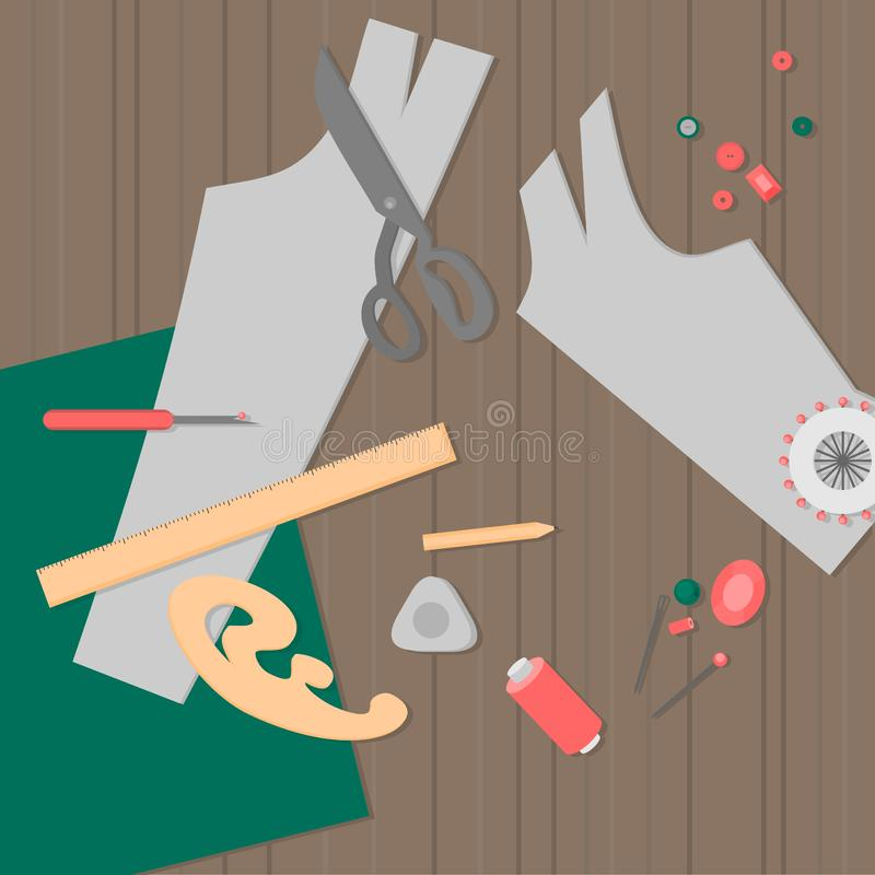 Systugautrustning Den plana skräddaren shoppar designbeståndsdelar Anpassa branschsömnad bearbetar symboler Modeformgivaren syr o vektor illustrationer