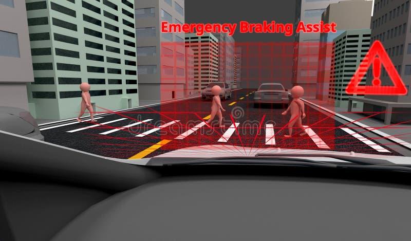Sysyem di frenaggio di aiuto EBA di emergenza per evitare concetto di incidente stradale Automobile astuta, rappresentazione 3D royalty illustrazione gratis